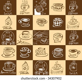 Mega collection abstract cup of coffee on brown background
