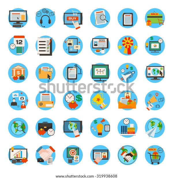Mega collection of business, marketing, office and seo optimisation icons. Flat style design. Vector illustration.