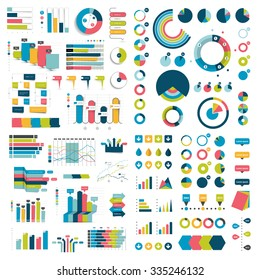 Mega Collection of charts, graphs, flowcharts, diagrams and infographics elements. Infographics in various color.