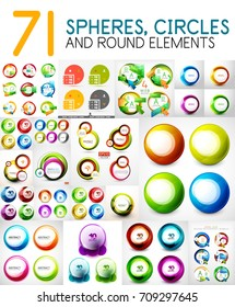 Mega collection of circles, spheres, round swirls design elements for web banner, advertising presentation and promotional message. Vector Illustration for your design or site