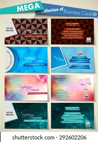 Mega collection of Corporate, professional, designer business or visiting card set. Vector illustration abstract of creative business cards., EPS 10.