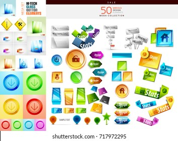 Mega collection of design elements and buttons. Vector illustration