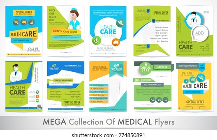 Mega collection of different stylish Flyers for Health and Medical concept.