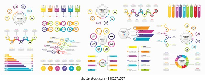 Mega Collection Of Infographics Vector. Set Business Data Visualization Design Template Infographics Timeline with Marketing Icons most useful can be used for workflow, presentation, diagrams, reports