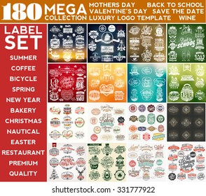 Mega Collection Label Set, Mothers Day, Summer, Valentine's Day, Coffee, Nautical, Back To School, Spring, Save The Date, Easter, Bakery, Bicycle, Christmas, St Patrick's