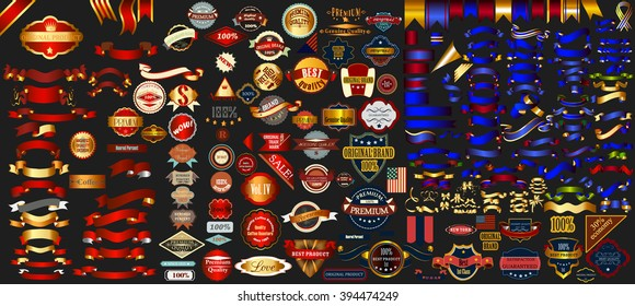 Mega collection labels set premium quality, cafe, bakery, sale, Christmas, and, coffee, USA, ribbons and other