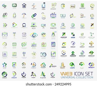 Mega collection of line design web logo icons. Vector icon set