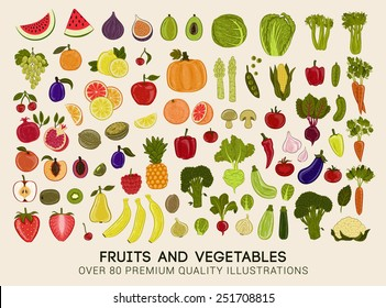 Mega collection of premium quality vector illustrations of fruits and vegetables