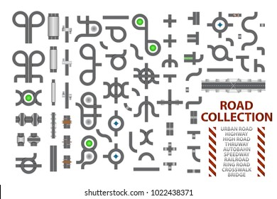 Mega collection of road junctions. Street road elements with bridge, crosswalk, ringroad, railroad, speedway, autobahn