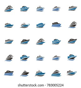 Mega collection ship boat marine logo Phinisi logo Vector. Sailboat logo Template. Vector Illustration eps. 10 eps.8 yacht logo