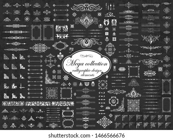 Mega collection of vector calligraphic design elements on chalkboard background