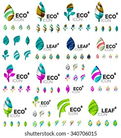 Mega collection of vector green summer concepts - leaves compositions, plants. Various futuristic colors colors, vector illustration