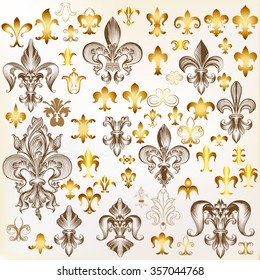 Mega collection of  vector vintage fleur in engraved and golden style