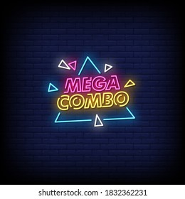 Mega Combo Neon Signs Style Text Vector
