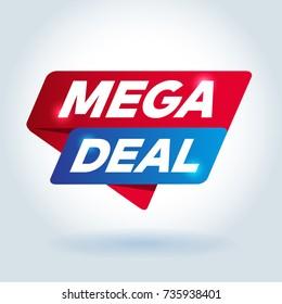 MEGA DEAL arrow colored tag sign.