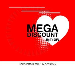 Mega Discount. Offer sticker. Sale sign. Vector Illustration