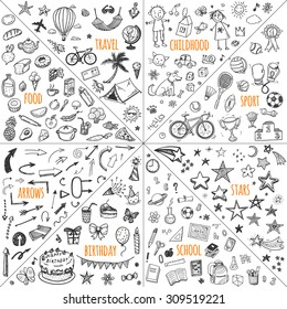 Mega doodle design elements vector set. Hand drawn illustrations: travel, childhood, sport, school, birthday, arrows, food.