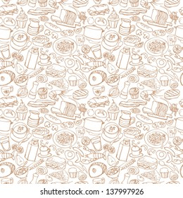 Mega food mix seamless background