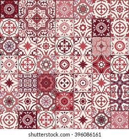 Mega Gorgeous seamless patchwork pattern from dark red and white Moroccan, Portuguese  tiles, Azulejo, Arabic ornament. Islamic art.