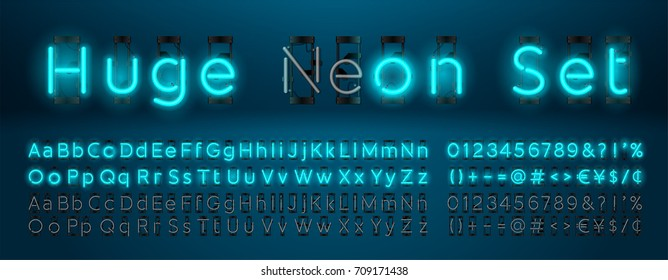 Mega huge neon set glowing alphabet with upper, lowercase letters, punctuation marks and numbers. Vector On, Off lamp isolated on blue background