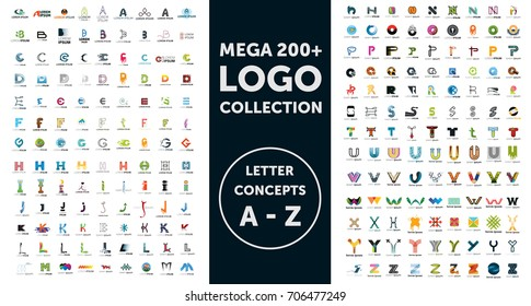 Mega logo collection. Letter concepts. Isolated vector icons. Set of symbol and sign for company logo designing