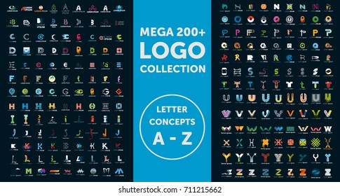 Mega logo collection. Letter concepts. Isolated vector icons. Set of symbol and sign for company logo designing. Isolated background