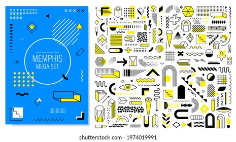 Mega Memphis set of abstract trendy geometric shapes and design elements with bright yellow color for creation advertisement, commercial banners, billboard, sale, poster, leaflet