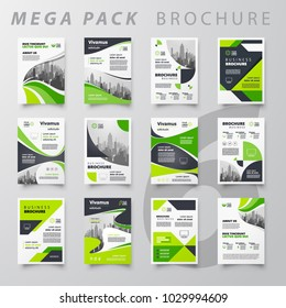Mega pack abstract Brochure design template flyer set green color