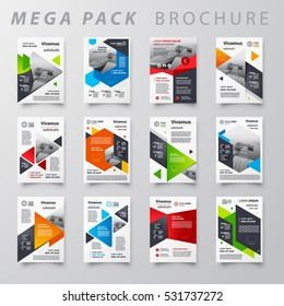 Mega pack Brochure design template flyer set, abstract business flyer size A4 template, creative cover, trend brochure set