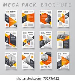 Mega pack Brochure design template flyer set, abstract business cover size A4, orange color