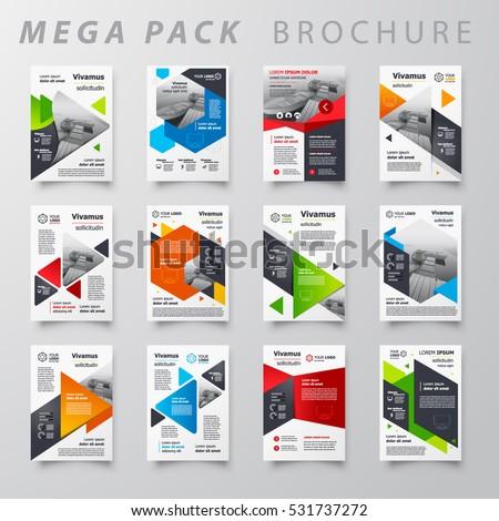 mega pack brochure design template flyer のベクター画像素材