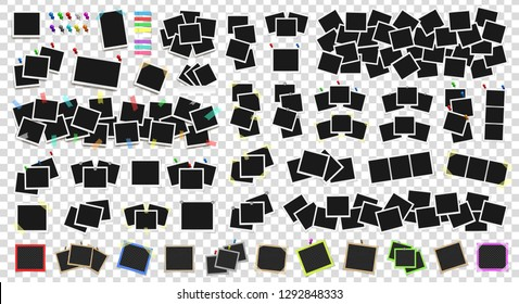 Mega pack of realistic photo frames on sticky tape, pins and rivets. Template photo design. Colored metal pins and paper stickers set. Isolated on transparent background. Vector illustration