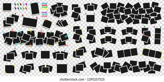Mega pack of realistic Polaroid photo frames on sticky tape, pins and rivets. Template photo design. Colored metal pins and paper stickers set. Isolated on transparent background. Vector
