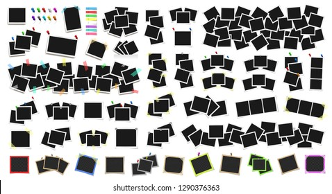 Mega pack of realistic vector Polaroid photo frames on sticky tape, pins and rivets. Template photo design. Colored metal pins and paper stickers set. Isolated on white background. Vector illustration