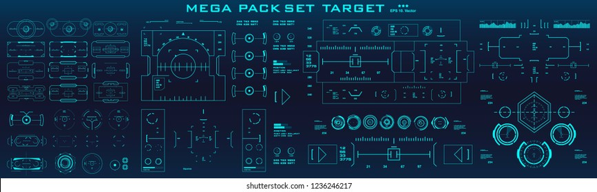 Mega pack set target. HUD futuristic blue user interface. Futuristic virtual graphic touch user interface.