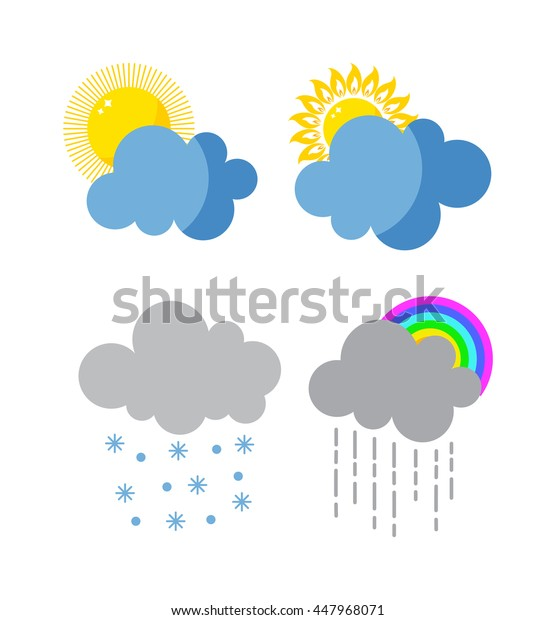 Mega pack of weather icons snow climate, sun forecast, rainy storm