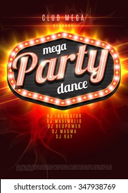 Mega Party Dance Poster Background Template with retro light frame on red flame background - Vector Illustration