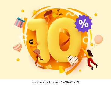 Mega sale. 10 percent discount. Special offer background with flying people. Promotion poster or banner. Vector illustration