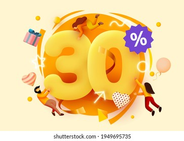 Mega sale. 30 percent discount. Special offer background with flying people. Promotion poster or banner. Vector illustration