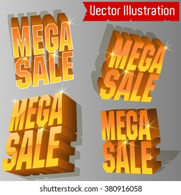 Mega Sale - 3D  vector set  (different perspective.)