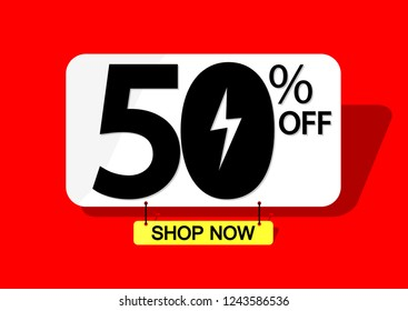 Mega Sale, 50% off, Flash discount banner design template, offer tag, vector illustration