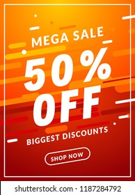 Mega Sale 50 percent off banner template design. Big sale special offer promotion discount for business.