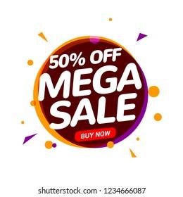 Mega Sale 50 percent speech bubble banner sign. Discount tag design template. Business label promo offer.