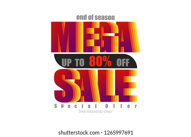 mega sale up to 80% end of year special offer colorful tone vector illustration eps10