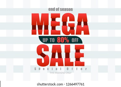 mega sale up to 80% end of year special offer bone tone vector illustration eps10