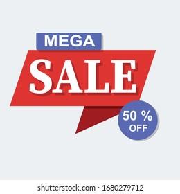 mega Sale banner 50% off. You use the banner,  Ads, Social Media & web blogs.