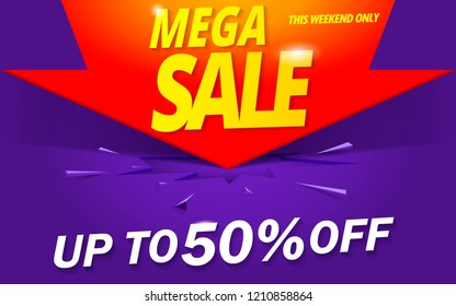 mega sale banner abstract background