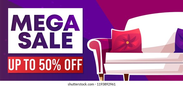 Mega sale banner or advertising poster for home furniture. Vector 50 percent off discount promo offer of house interior design shop with sofa and cozy pillows