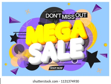 Mega Sale, banner design template, discount tag, app icon, don't miss out, vector illustration