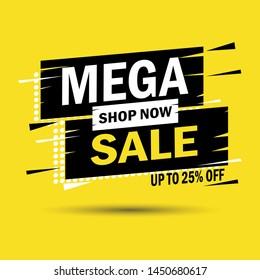 Mega sale banner design template. Discount up to 25% off. Vector illustration